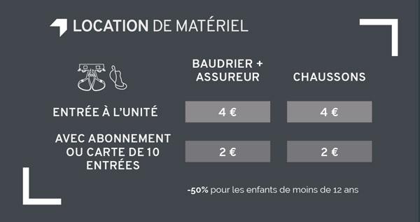 tarifs location matériel Climb Up Limoges